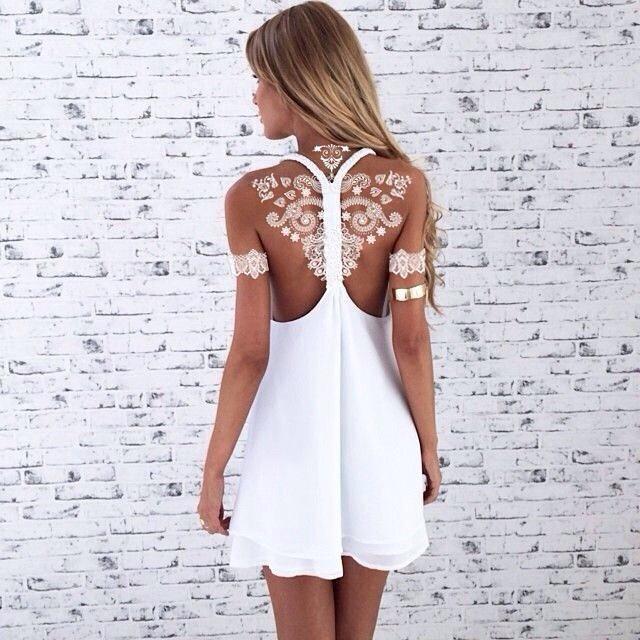 Impresionantes Tatuajes blancos de henna, que parecen preciosos encajes sobre la piel