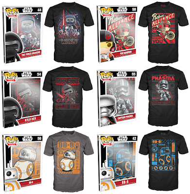 Star Wars: The Force Awakens Pop! Tees T-Shirts by Funko featuring Kylo Ren, BB-8, Poe Dameron and Captain Phasma