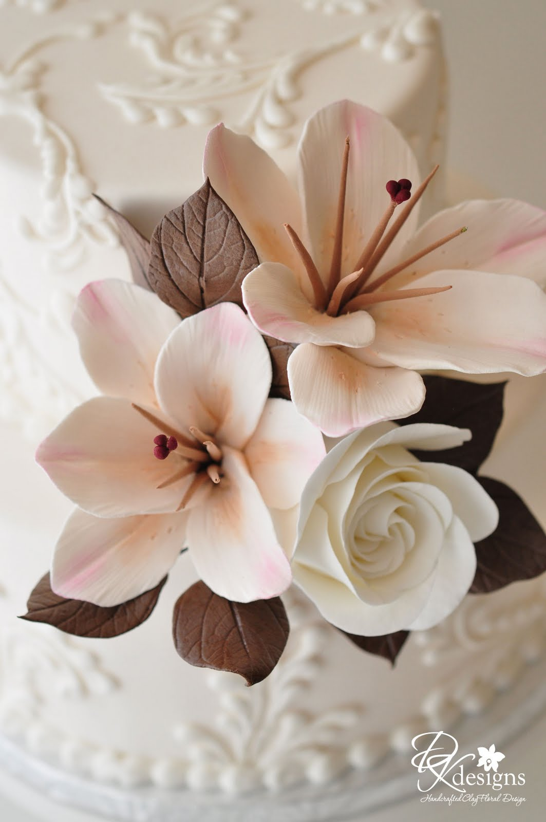 ivory, chocolate brown and pink cake flowers - dk designs