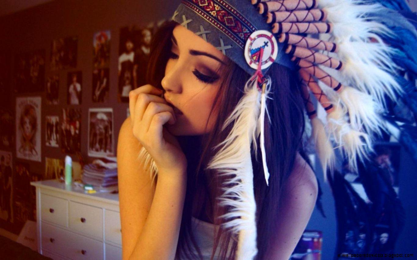 Headdress Brunette Melanie iglesias Native americans HD Wallpapers