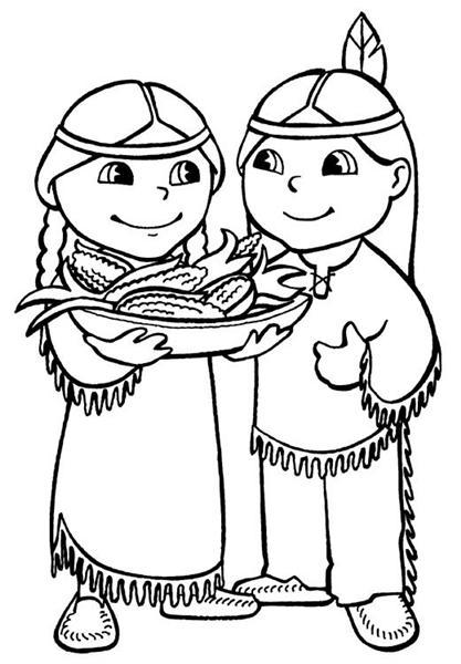 Dibujo para colorear de Acción de Gracias