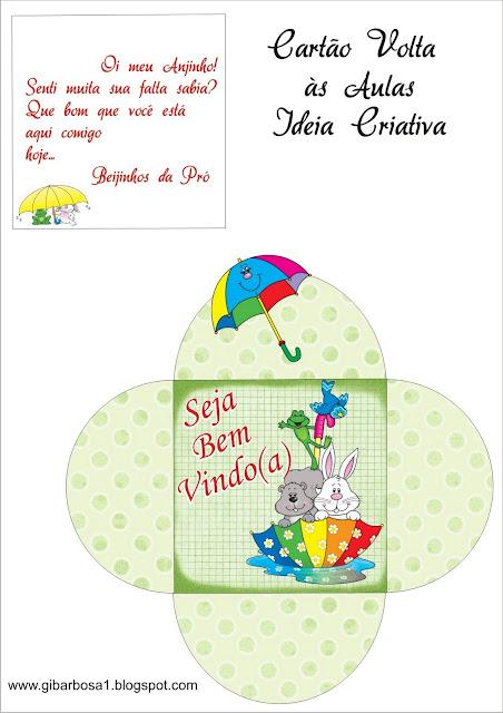 Cartão Cata Vento Jardim da Fantasia / Lembrancinha Volta às Aulas