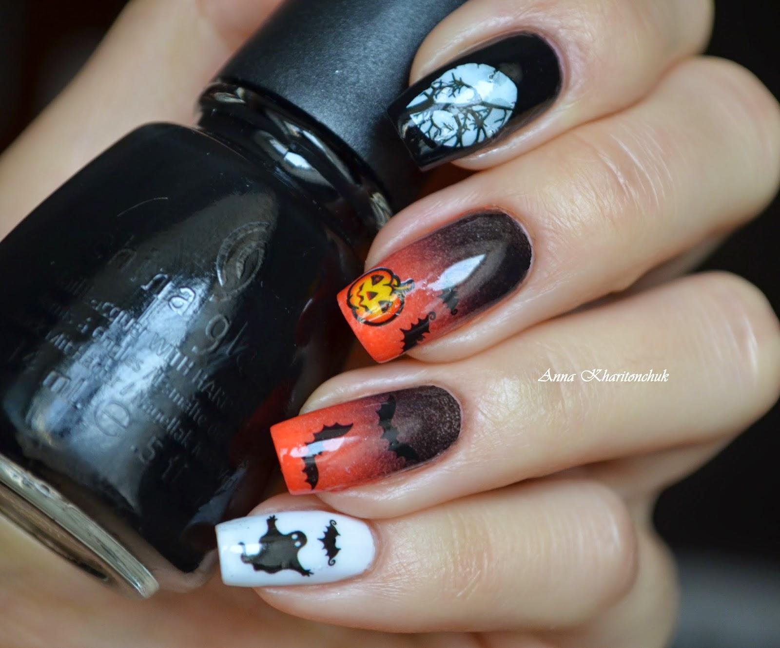 Маникюр на Halloween, градиент и слайдер-дизайн