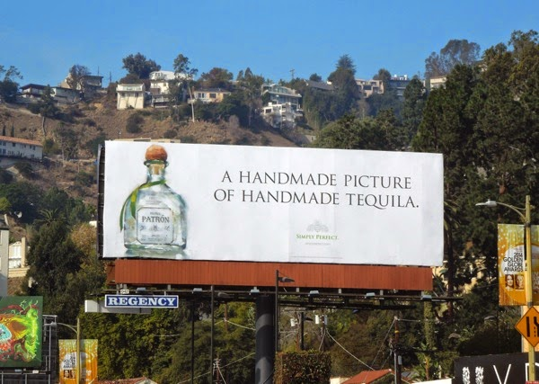 handmade picture of handmade tequila Patron billboard