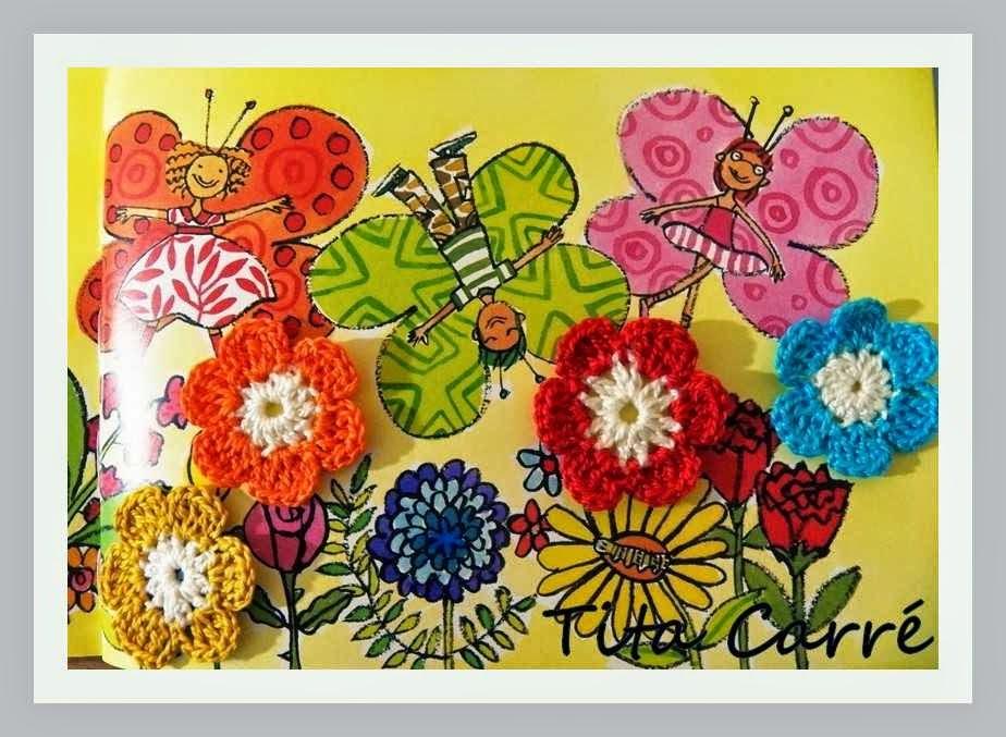 Borboleta e flores em crochet 2