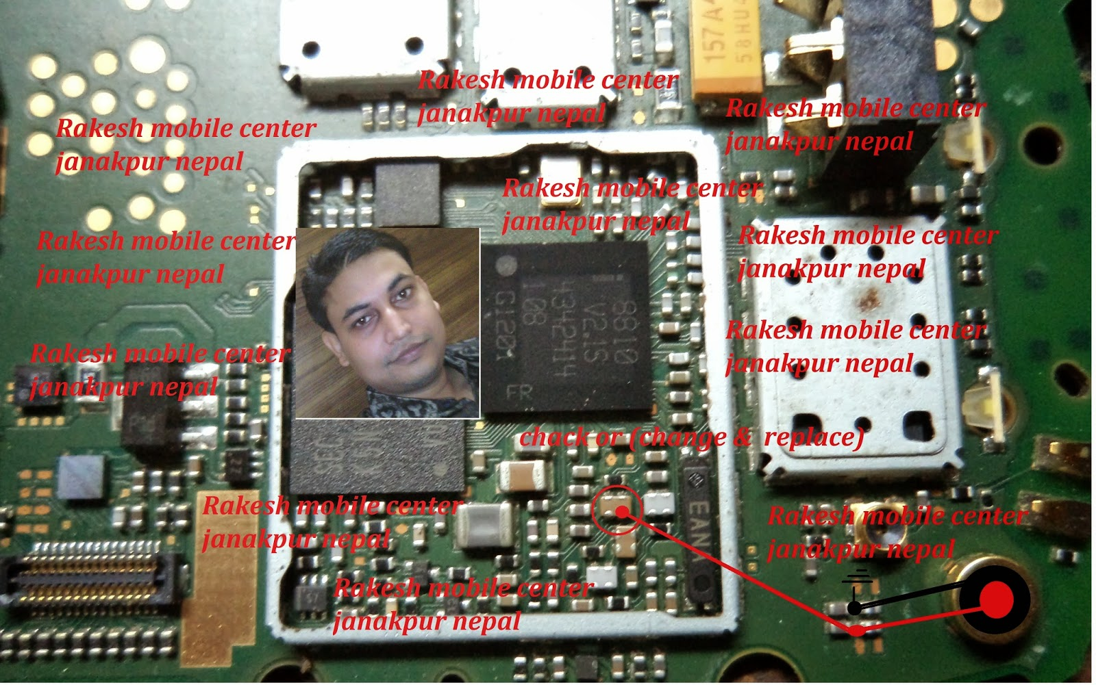 The diagram below is solution for NOKIA C2-05 mic problem.Check all points  as shown in diagram below and make jumpers like diagram.
