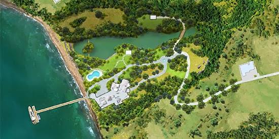 16 acre beachfront estate for sale on Dominica's Caribbean Sea coast - aerial view