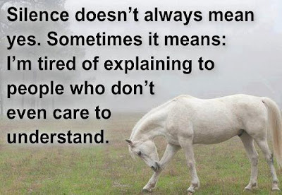 Silence doesn't always mean yes. Sometimes it means: I'm tired of explaining to people who don't even care to understand.