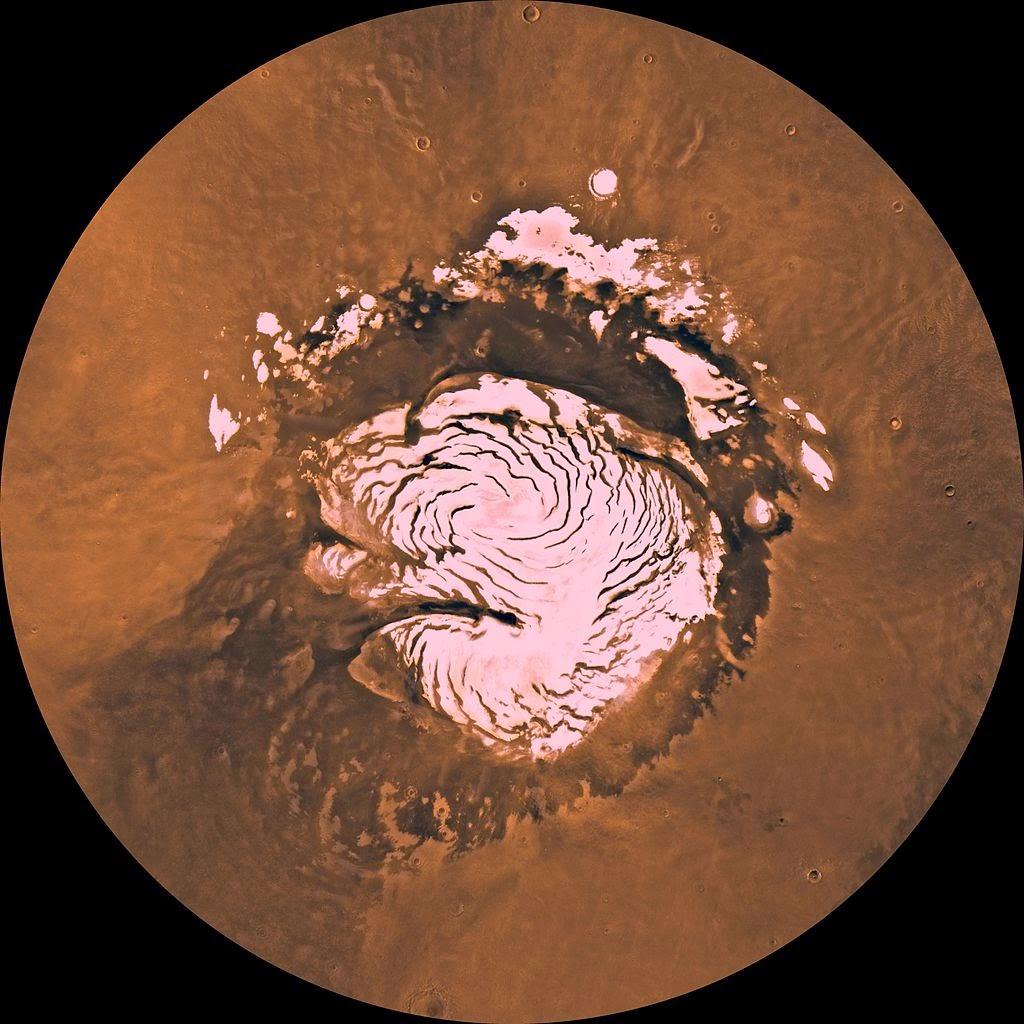 Hielo en Marte