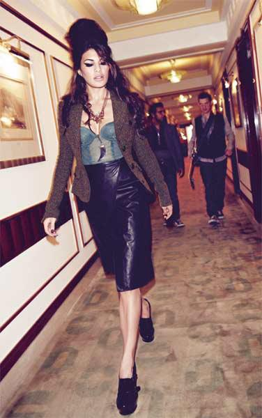 jacqueline fernandez as amy winehouse in harper bazaar -