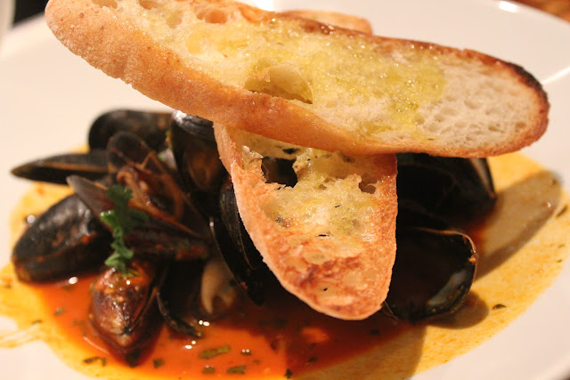 Steamed mussels with charmoula, B&G Oysters, Boston, Mass.