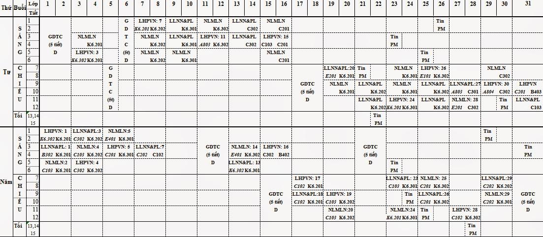 THỜI KHOÁ BIỂU HỌC KỲ I NĂM HỌC 2014 - 2015 KHOÁ 39 - ĐH Luật Hà Nội