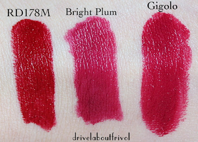 lipstick swatch Shu Uemura Rouge Unlimited Matte RD178M Burberry Lip Cover Bright Plum Guerlain Rouge G Gigolo