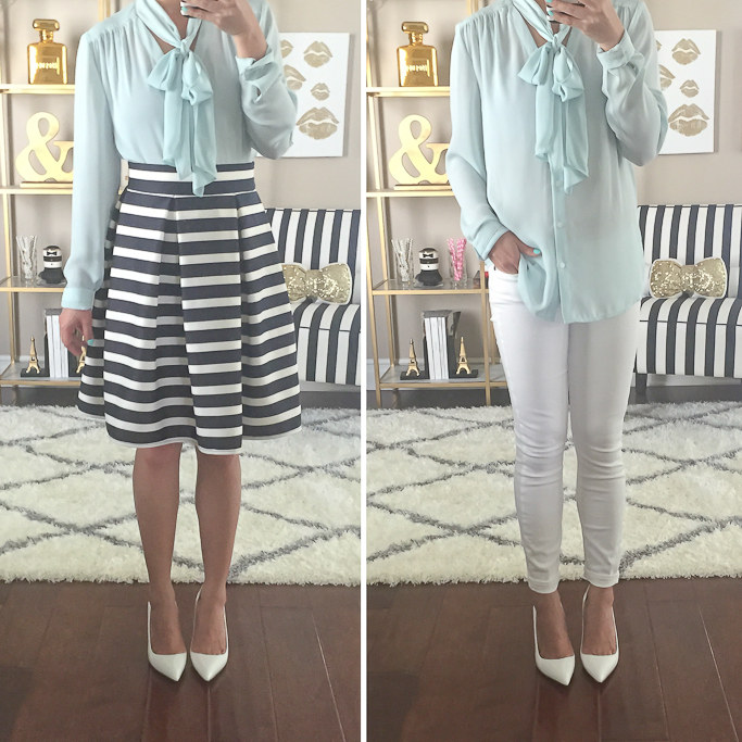 Chicwish striped tulip skirt Halogen scarf tie neck blouse Manolo Blahnik BB white pumps Paige Denim Verdugo Crop white jeans