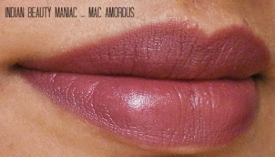 MAC SATIN AMOROUS LIPSTICK SWATCH ON LIPS