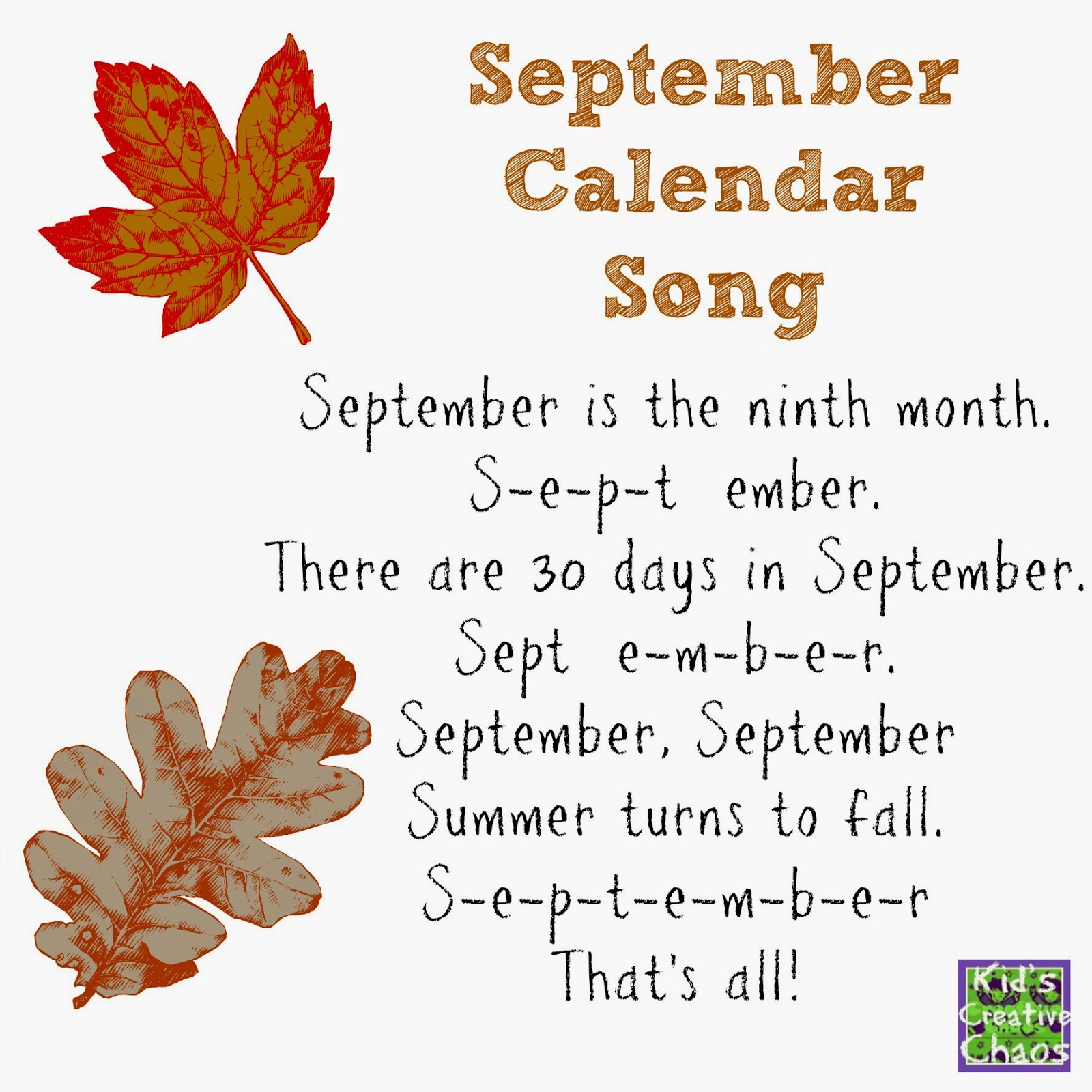 September Calendar of Special Days and Holidays with Song