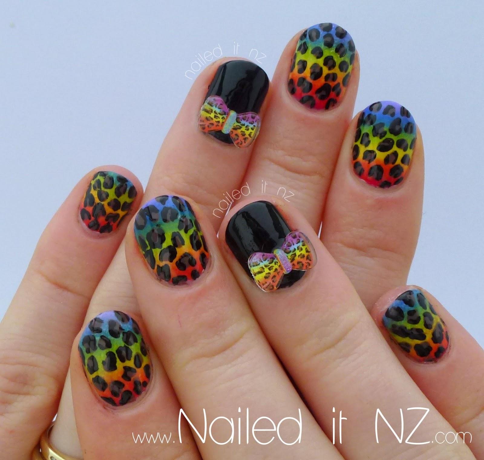 Rainbow leopard-print nails!