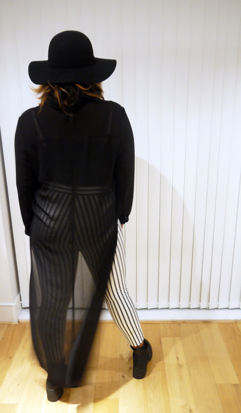Monochrome Forever 21 Treggings Black HM Kimono New Look Chunky Platform Boots
