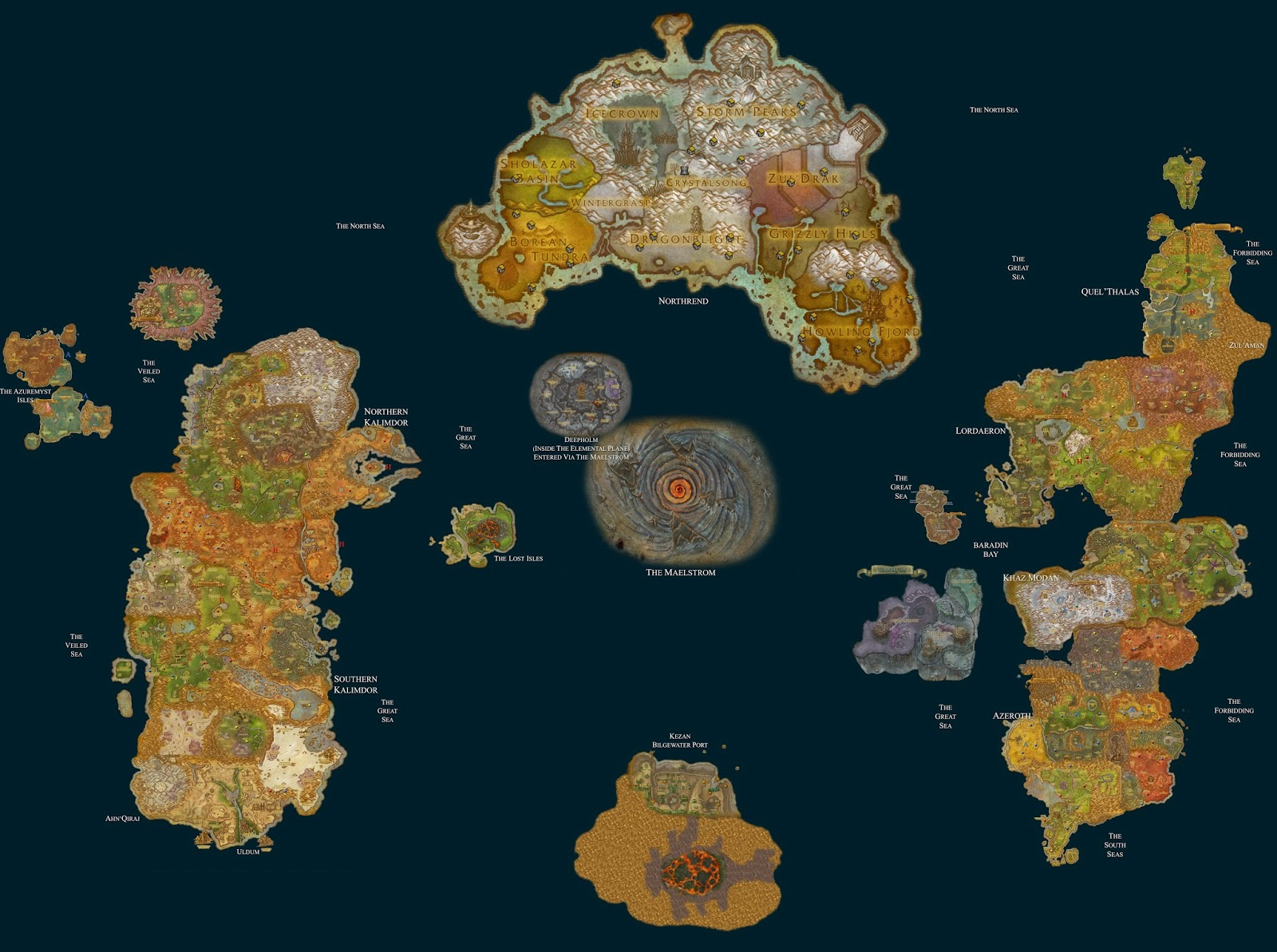 Gamer by design wow fiction has a horde bias a fantastic map of azeroth after the cataclysm complete with outpostsflight paths gumiabroncs Gallery