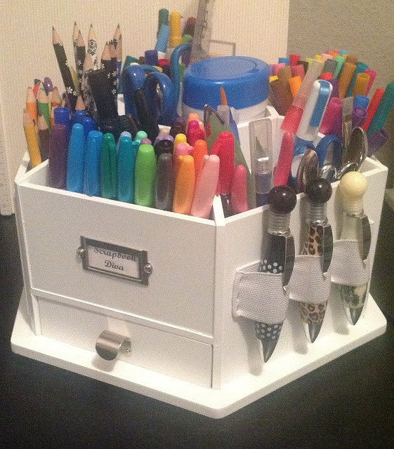 Craft room secrets welcome to my craft room - Spinning desk organizer ...