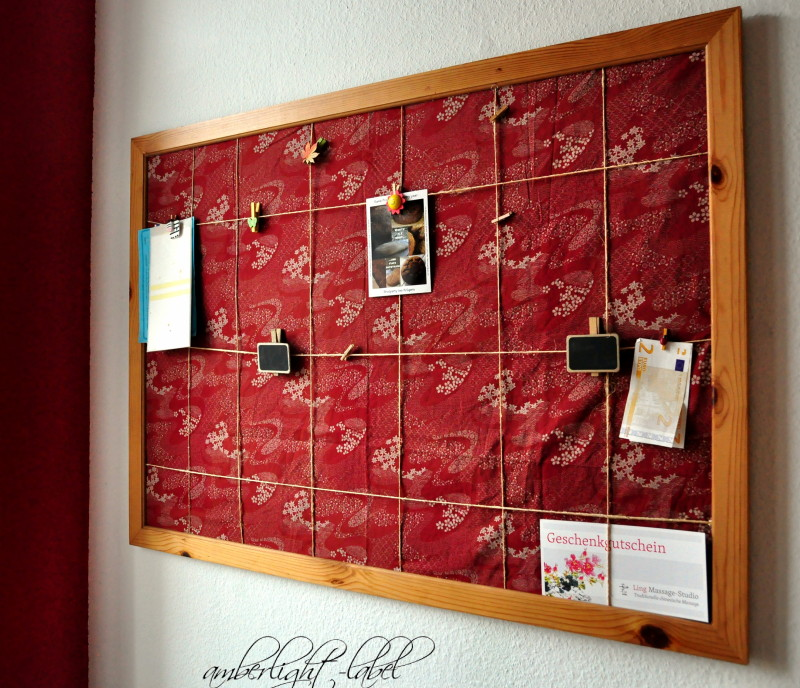 upcycling pinnwand mit stoff beziehen amberlight label. Black Bedroom Furniture Sets. Home Design Ideas