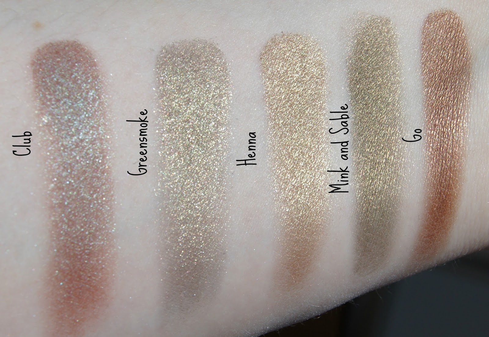 MAC Club, Greensmoke, Henna, Milk and Sable, Go swatches