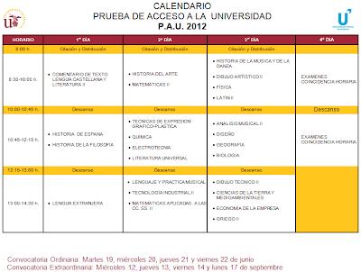 Calendario Selectividad 2012 Andalucía