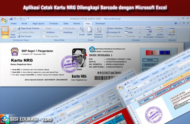 Aplikasi Cetak Kartu NRG Dilengkapi Barcode dengan Microsoft Excel