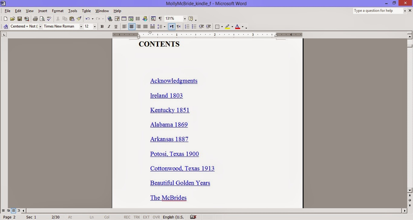 add hyperlinks to table of contents in microsoft word