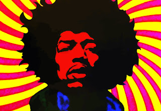 Ilustración de Jimi Hendrix con ton psicodélico o colorista