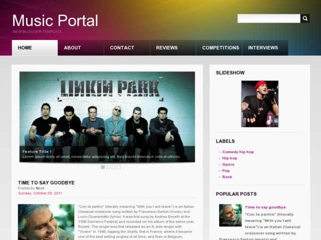 Music Portal Blogger Template
