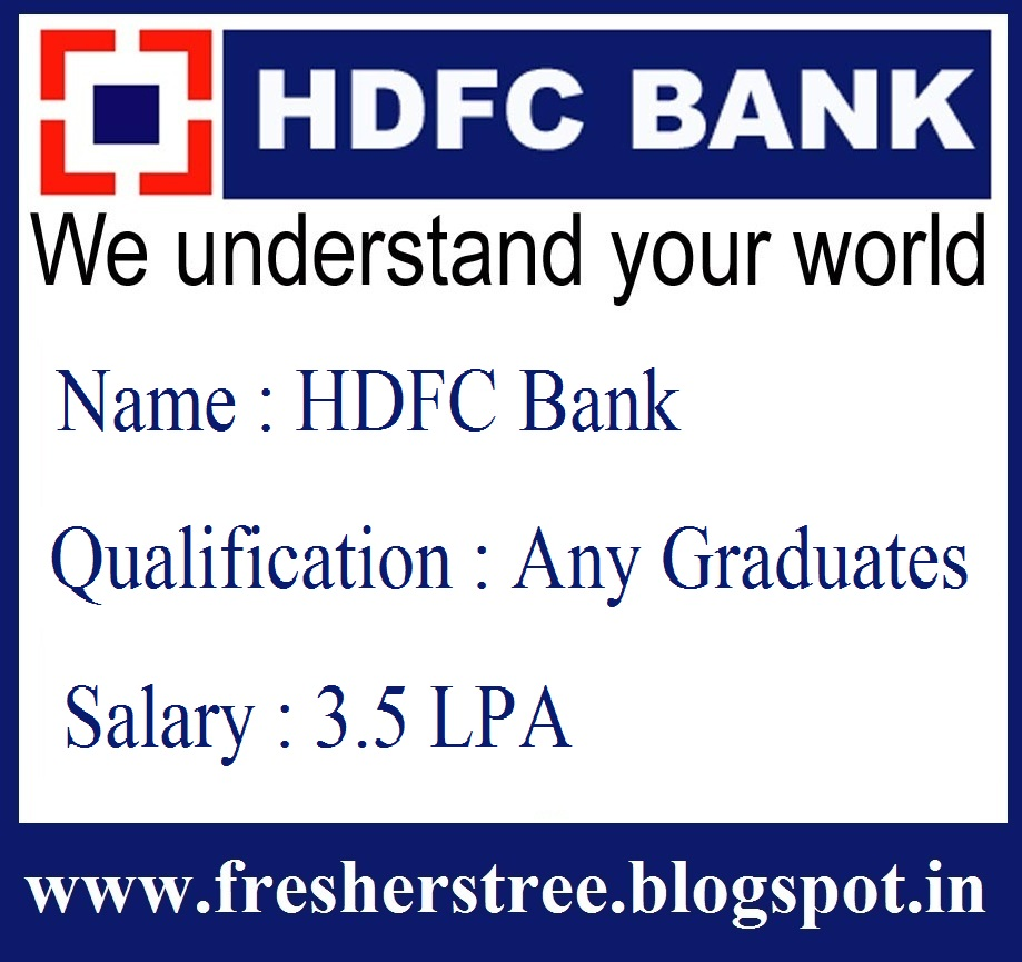 Direct Job Joining For Freshers In HDFC Bank || Any Graduates ...