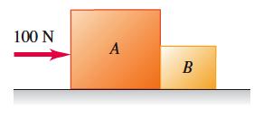 החוק השלישי של ניוטון - כוח אופקי מופעל על שתי תיבות מחוברות על משטח חלק