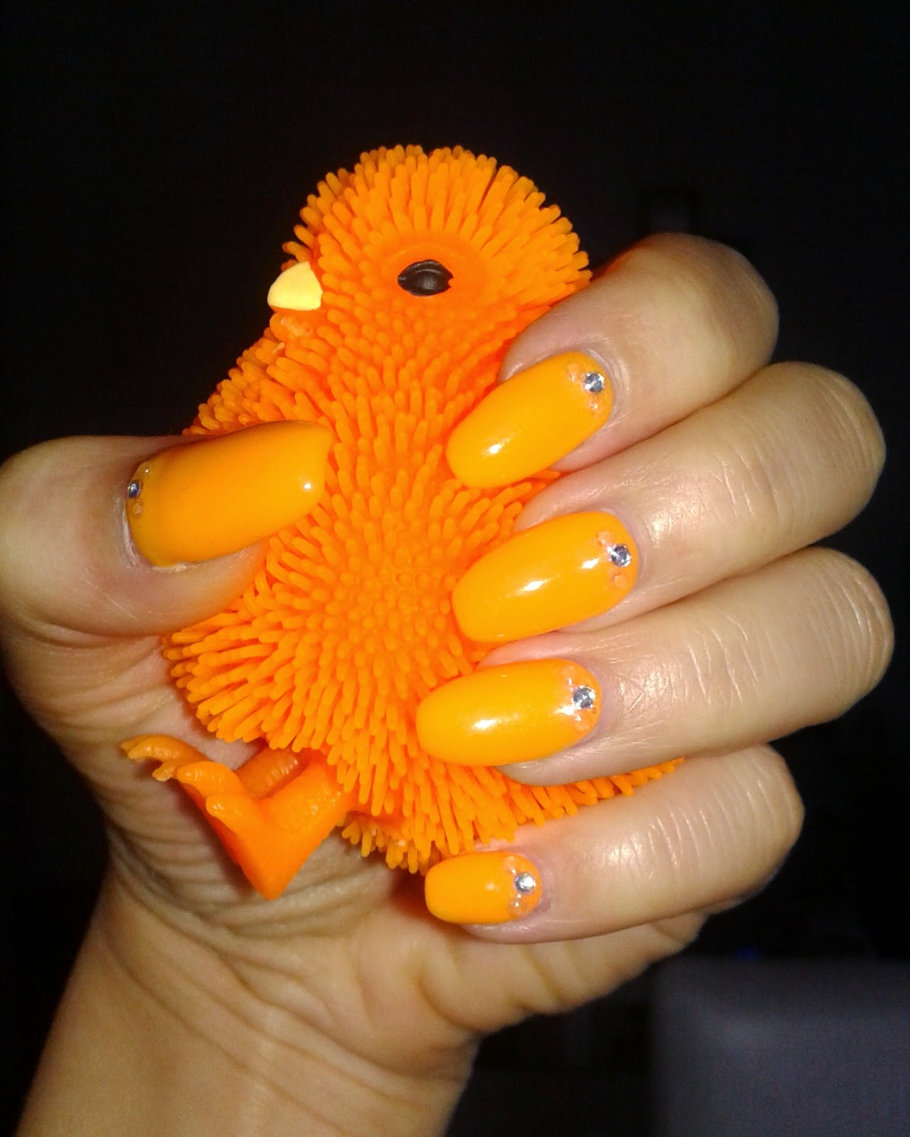 beauty, diy nails, gel nails, nail design, nail art, orange nails with rhinestones, spring nails