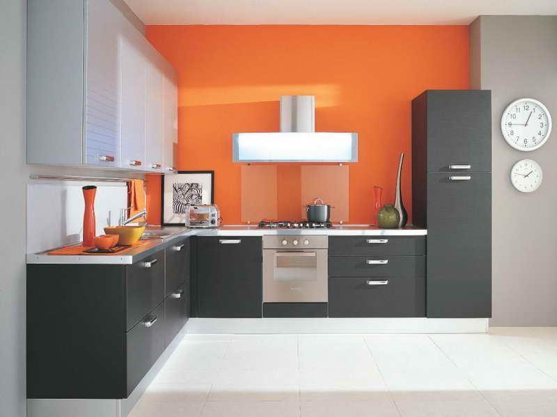 Decoração de cozinha pintura laranja