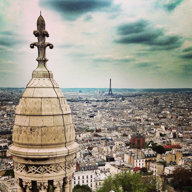 View of the Eiffel Tower from the Sacre Coeur Montmartre Paris
