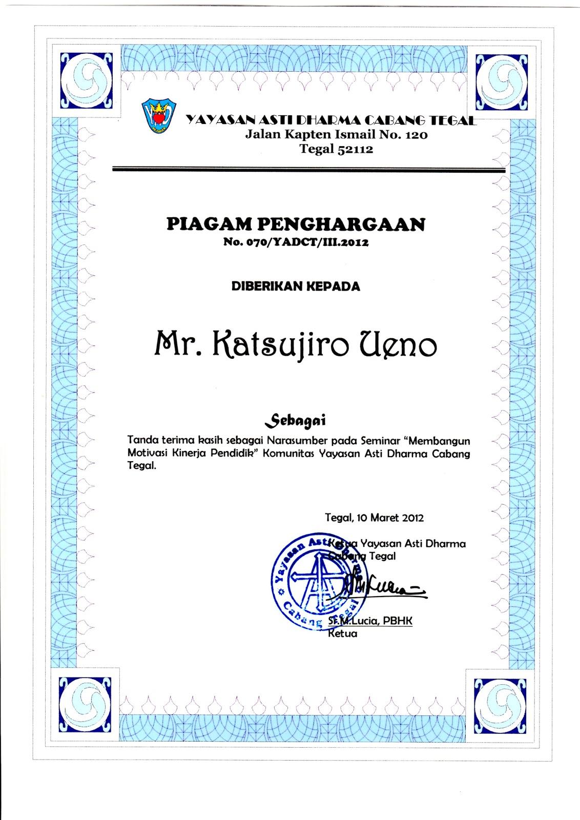 Piagam Penghargaan Untuk Apresiasinya ...