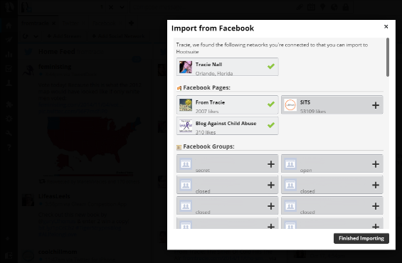 Import pages and groups from Facebook to Hootsuite screenshot