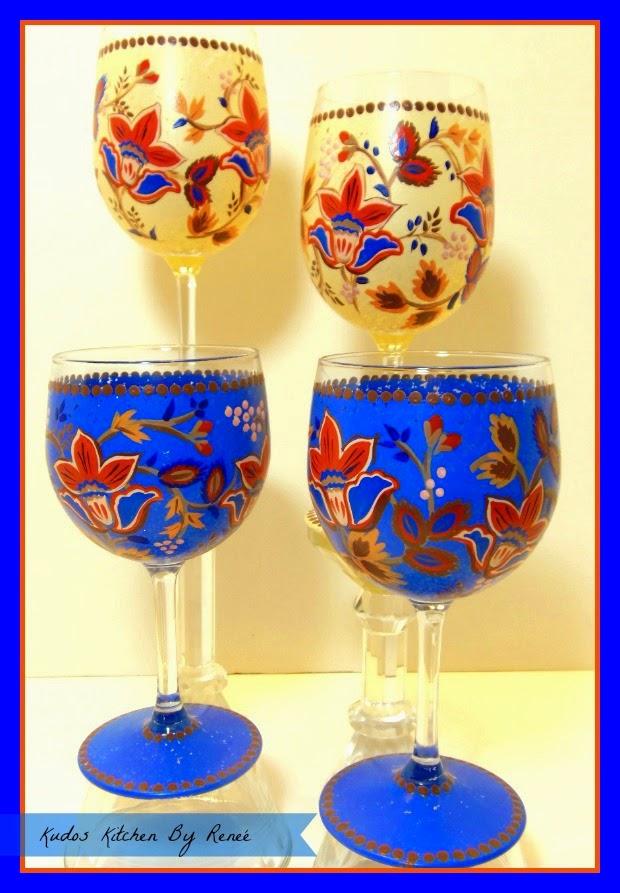 Custom painted Masala wine glasses via kudoskitchenbyrenee.com