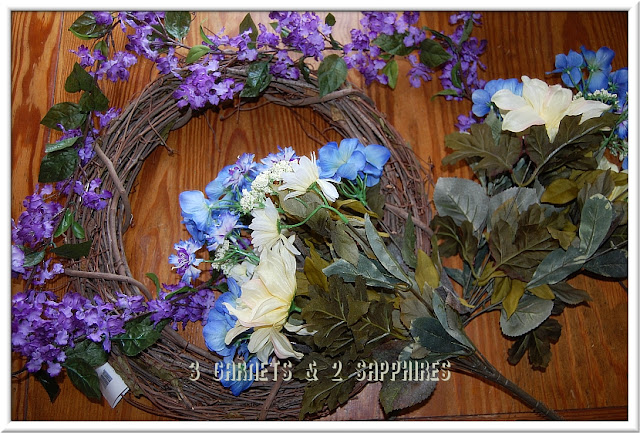 Supplies for DIY floral wreath craft