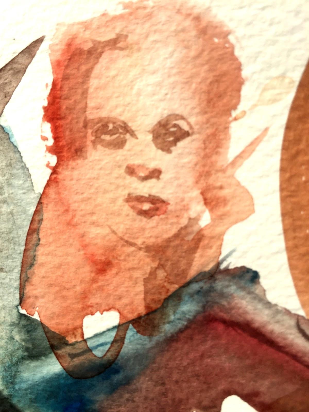 Watercolor face study by Artmagenta