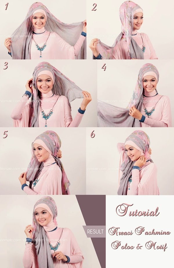 cara memakai jilbab pashmina sifon terbaru