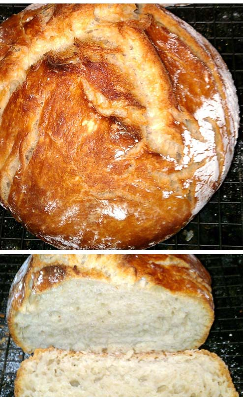 Crusty Dutch Oven Bread. All you'll need are flour, instant yeast, salt and water.