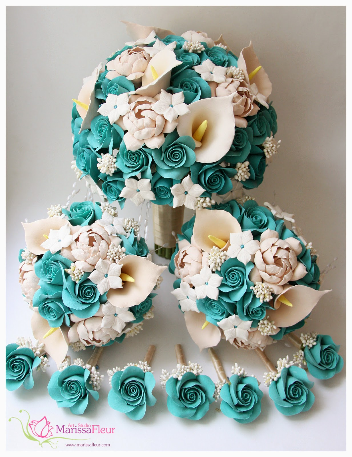 a touch of beauty bridal bouquet with turquoise roses champagne gardenias stephanotis and. Black Bedroom Furniture Sets. Home Design Ideas