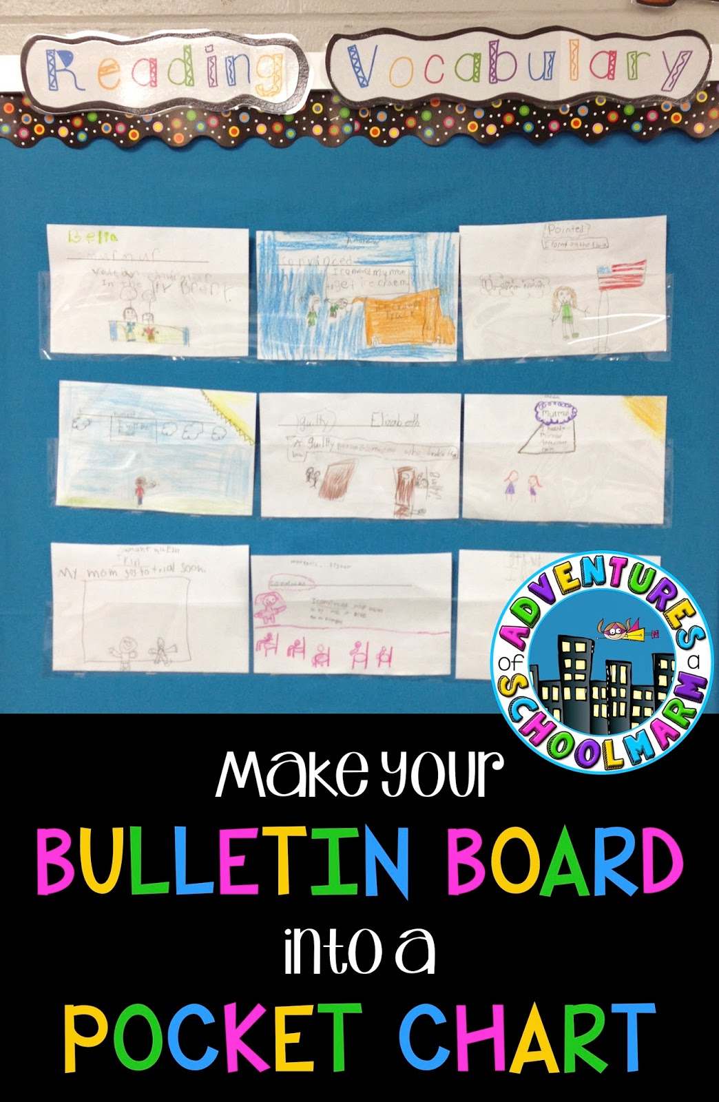 Turn your bulletin board into a pocket chart adventures for Bulletin board organization