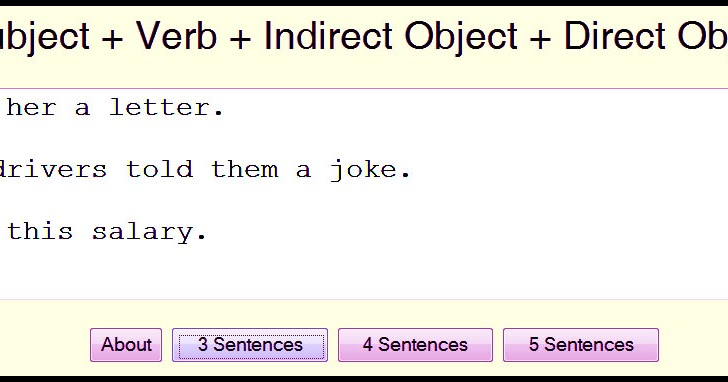 Subject Verb Indirect Object Direct Object English In Vancouver