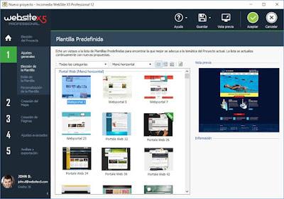 En el modo premium de WebSiteX5 tendremos todo el catálogo
