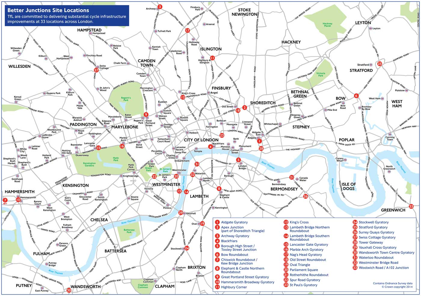 TfL map of 33 junctions for improvements