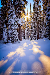 A setting sun on a winter scenic with fresh powder snow covering the area, by Chris Gardiner Photography www.cgardiner.ca at Big White Ski Resort, Okanagan