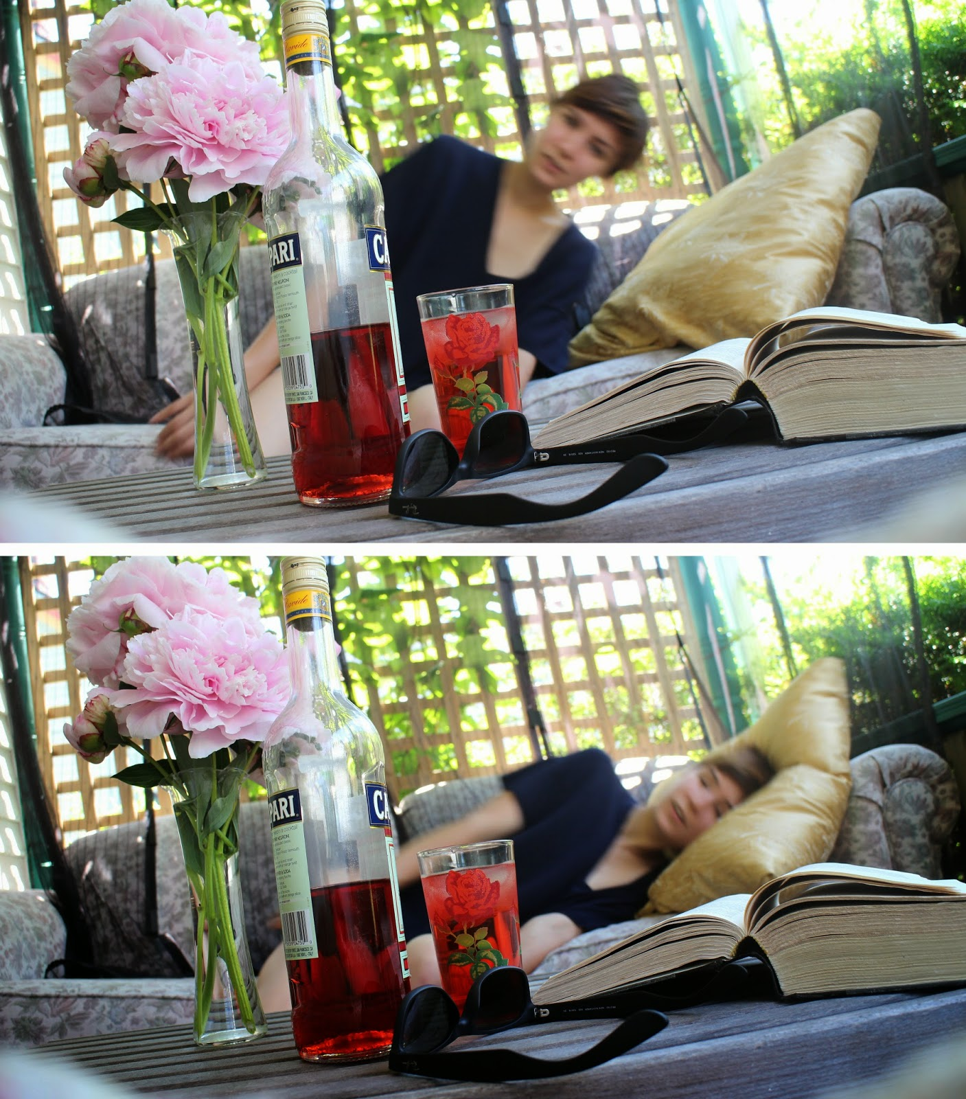 Stuffeddoggie, porch, sunny summer afternoon, peony bouquet, campari, sunglasses, Mists of Avalon, quiet porch day